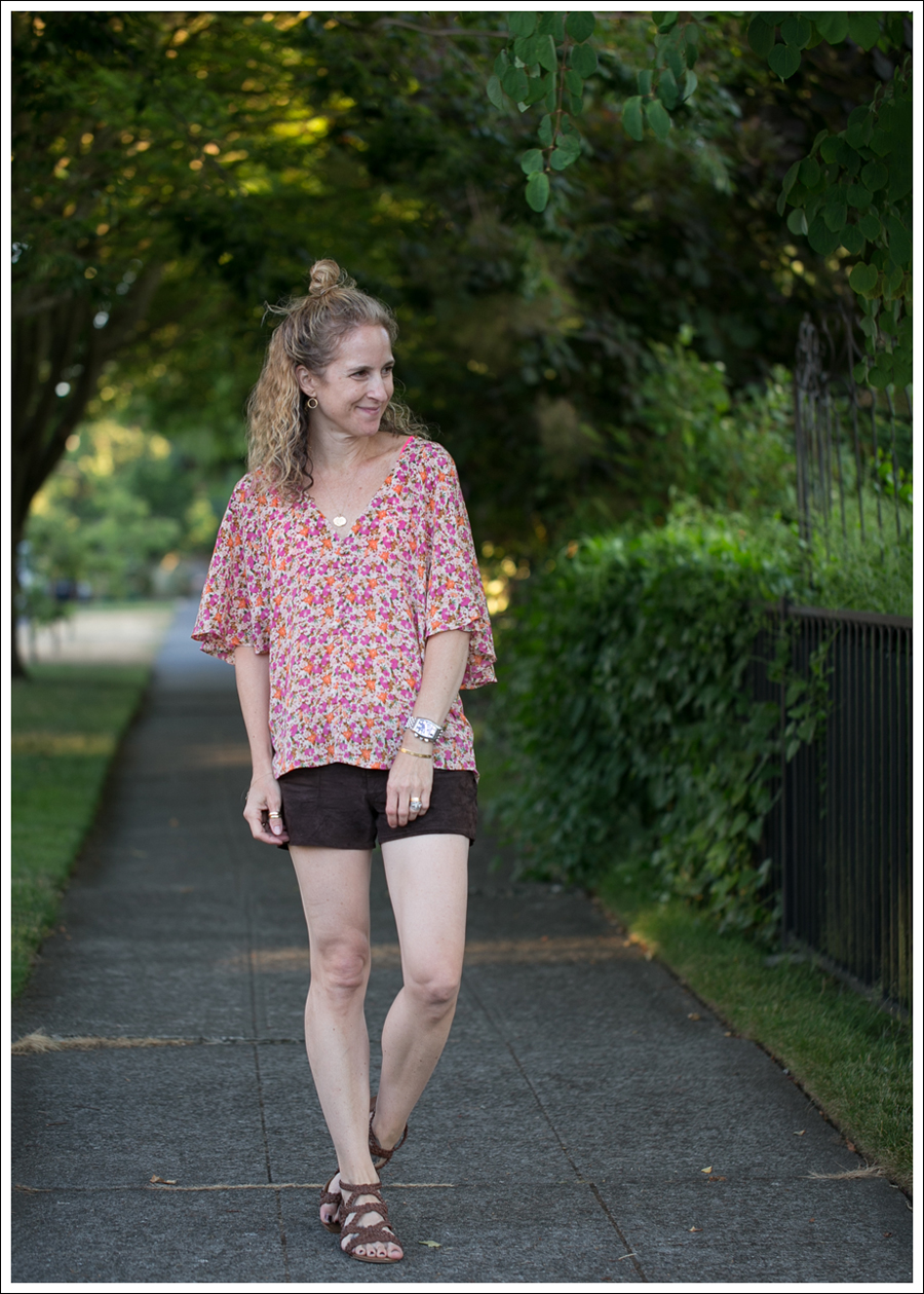 Blog Josephine Silk Floral Top Blank NYC brown Suede Shorts Madden Girl Braided Wedge-1