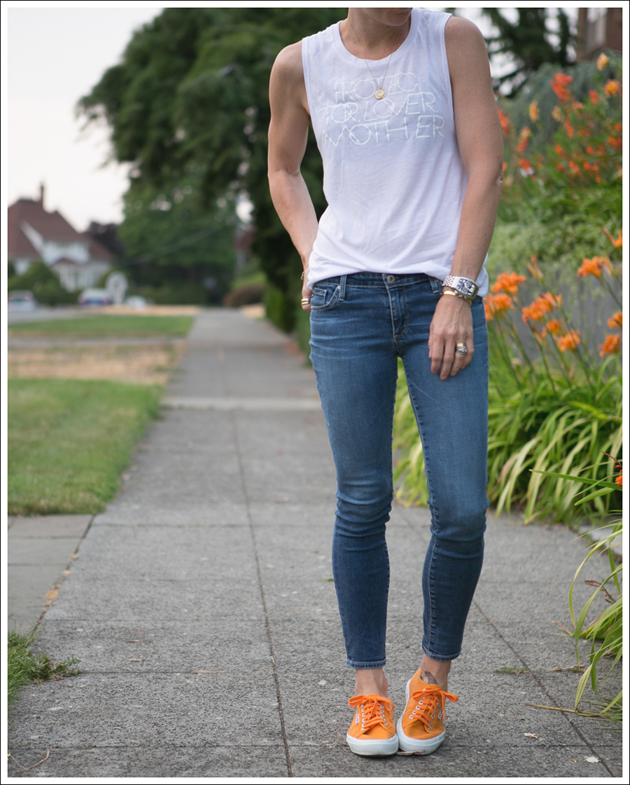 Blog LB Protector Lover Mother White Muscle Tank The Legging Ankle Super Skinny Jeans Orange Superga-2