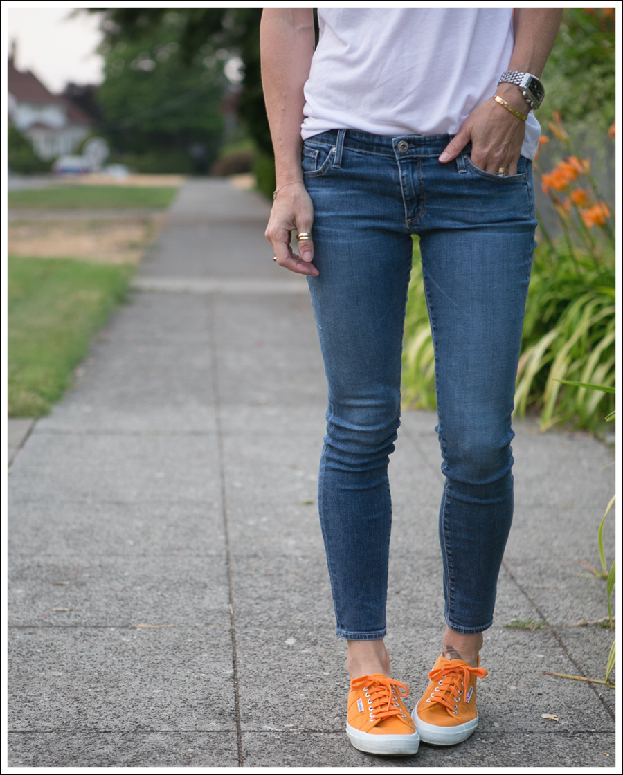 Blog LB Protector Lover Mother White Muscle Tank The Legging Ankle Super Skinny Jeans Orange Superga-3