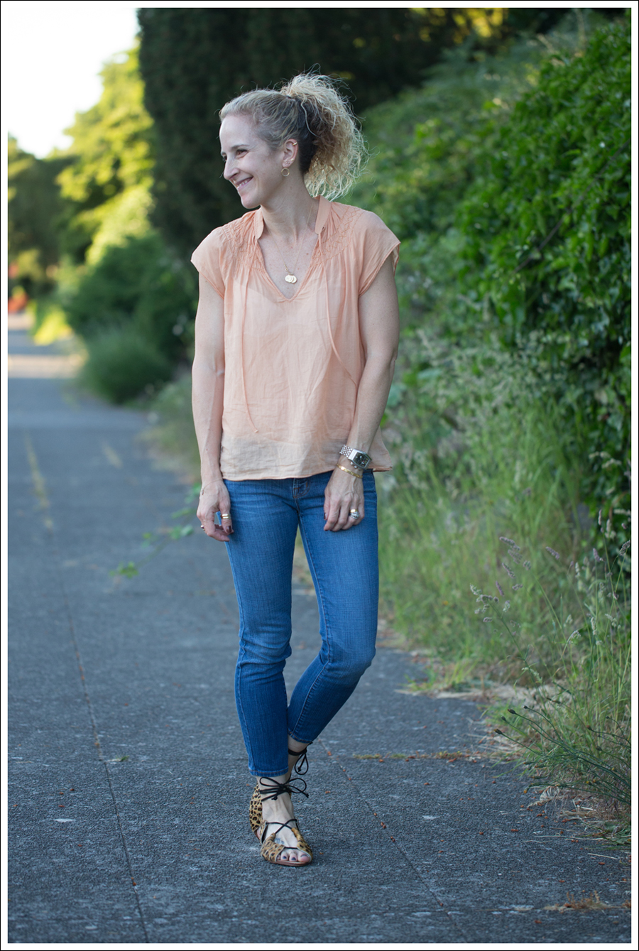 Blog Theory Orange Boho Top J Brand Skinny Crop Zara Leopard Lace Up Sandals-1