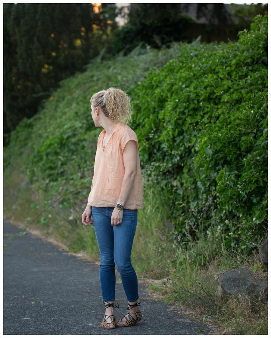 Blog Theory Orange Boho Top J Brand Skinny Crop Zara Leopard Lace Up Sandals-2
