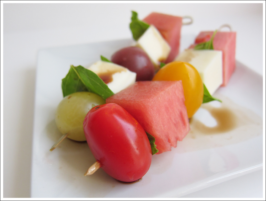 Tomato, Basil, Mozzarella and Watermelon Skewers |