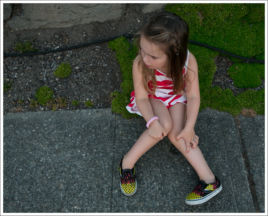 Blog HM Red Striped Dress Fire Checked Vans-10