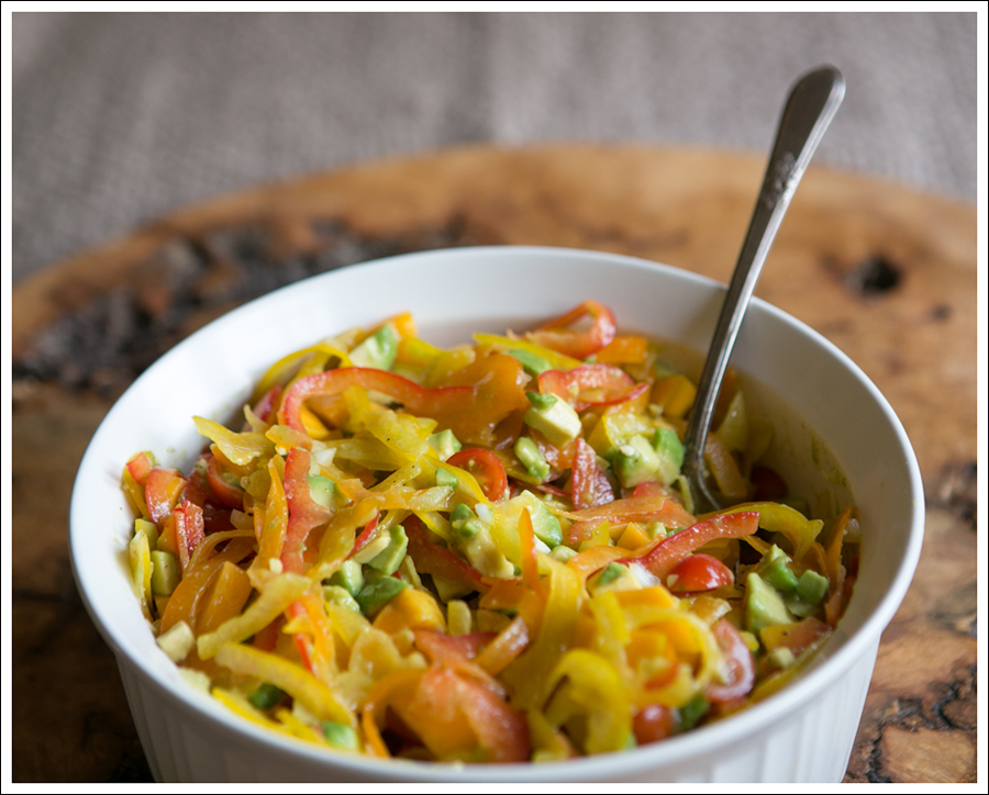 Blog Paleo Spiralized Peppers with Tomatos, Mango, and Avocado Salad over Grilled Chicken-1