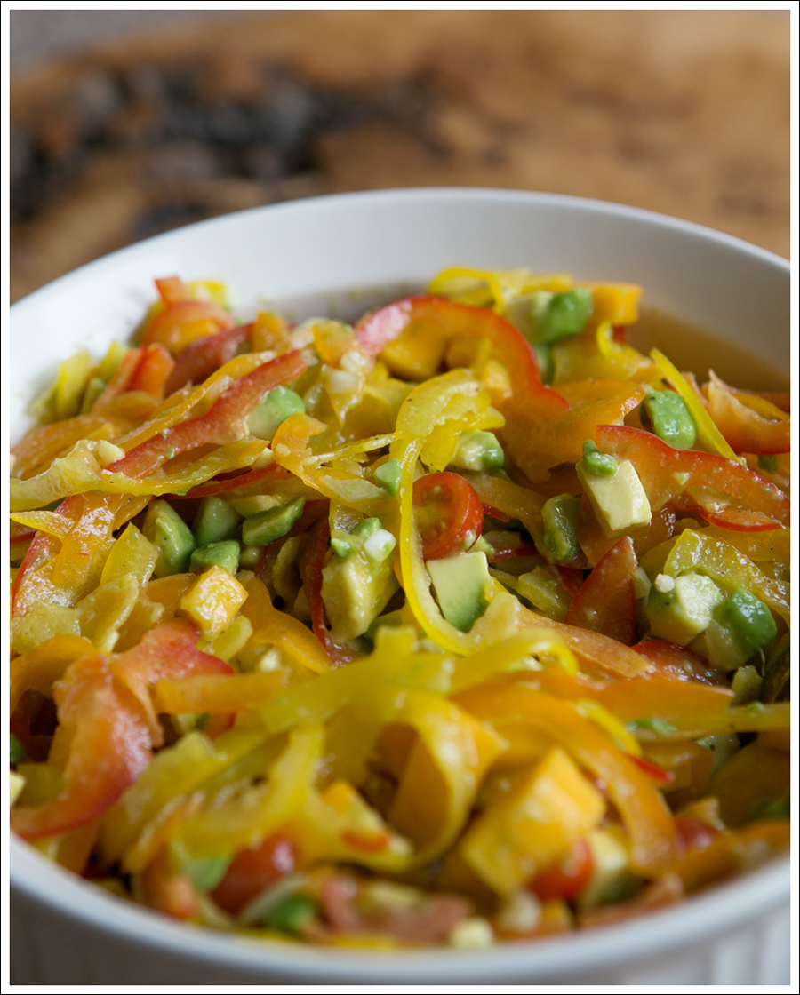 Blog Paleo Spiralized Peppers with Tomatos, Mango, and Avocado Salad over Grilled Chicken-3