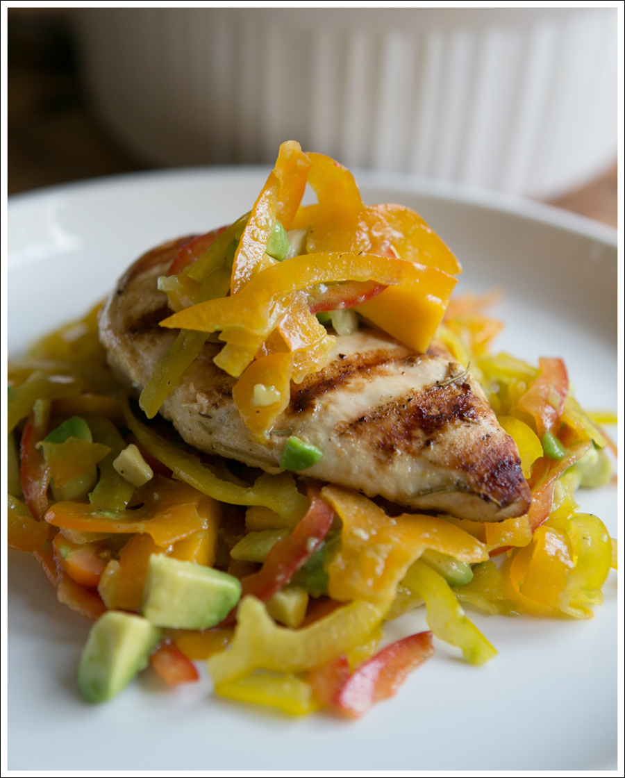 Blog Paleo Spiralized Peppers with Tomatos, Mango, and Avocado Salad over Grilled Chicken-5