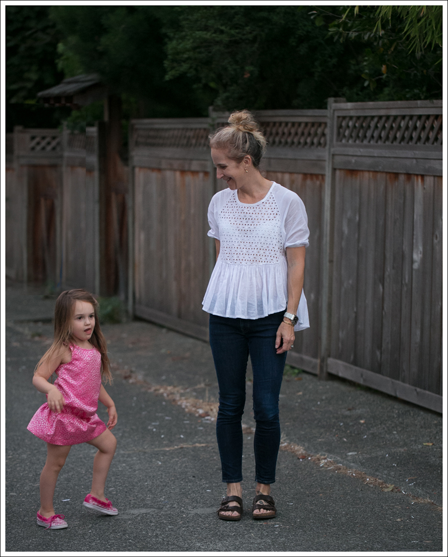 Blog White Eyelet Peplum Top Imogene and Willie Jesse Birkenstocks-2