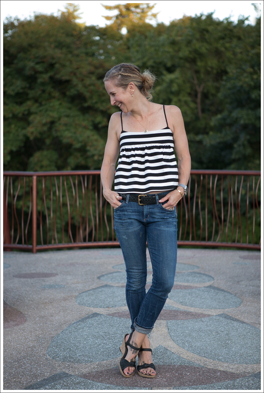 Blog Zara Striped Cami Citizens of Humanity Carlton Retro High Rise Born Wedge Sandals-1