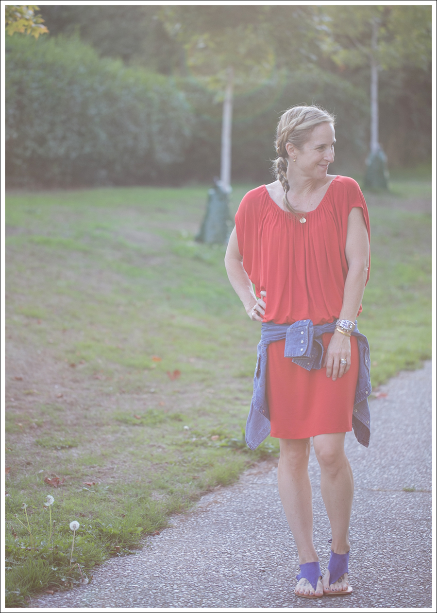 Blog Cynthia Vincent Red Tee Dress Gap Denim Shirt Cocobelle Suede Tie Thong Sandals-1