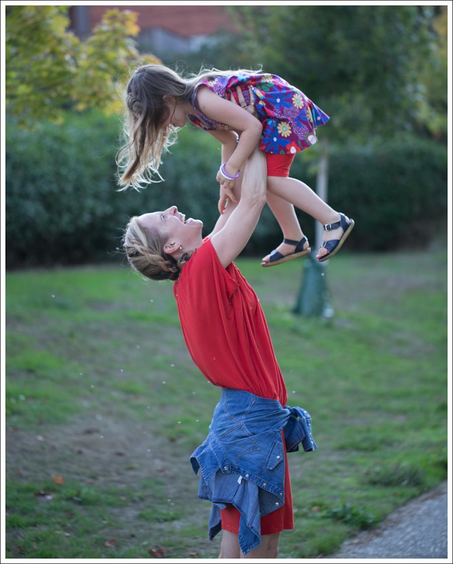 Blog Cynthia Vincent Red Tee Dress Gap Denim Shirt Cocobelle Suede Tie Thong Sandals-17