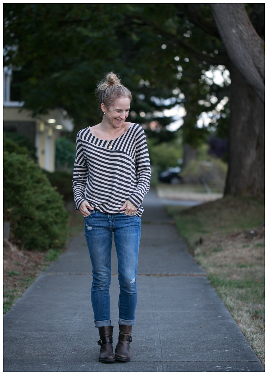 Blog Heather by Bourdeaux Striped Sweater Vince Destroyed Skinny Cafe Noire Booties-1