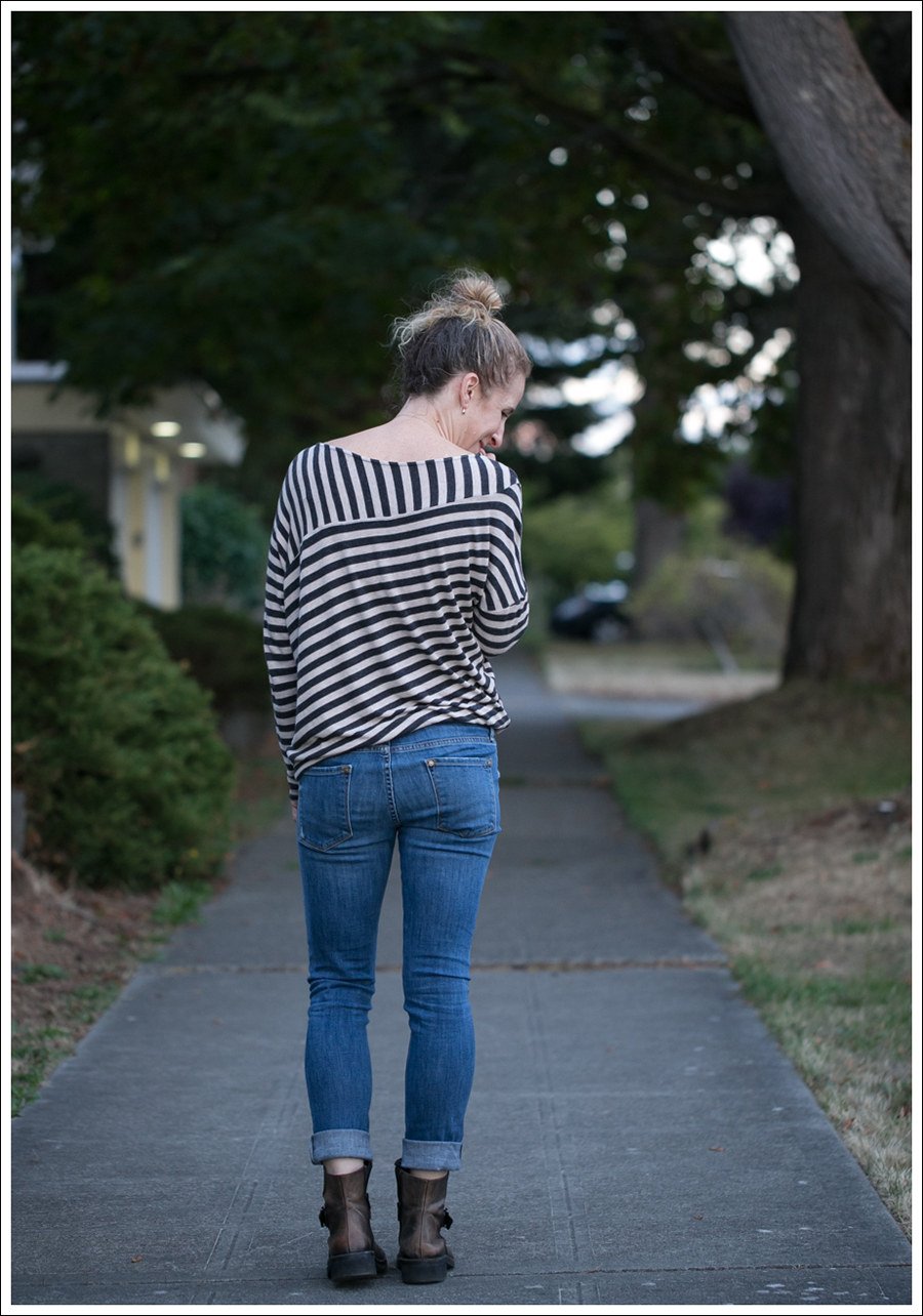 Blog Heather by Bourdeaux Striped Sweater Vince Destroyed Skinny Cafe Noire Booties-2
