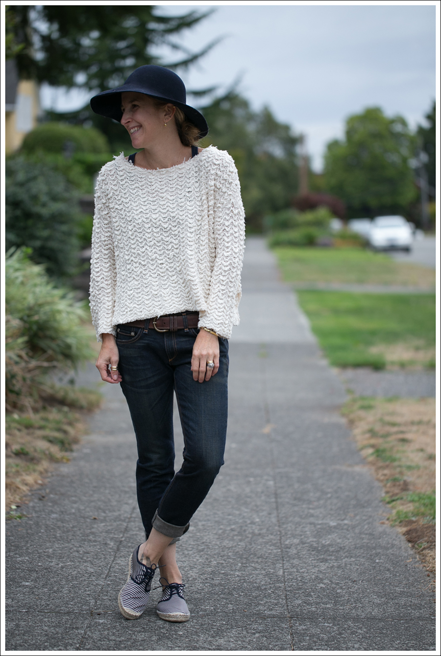 Blog Nordstrom Navy Wool Hat Free People Cropped Sweater Rag Bone The Dre Zara Striped Espadrilles-1