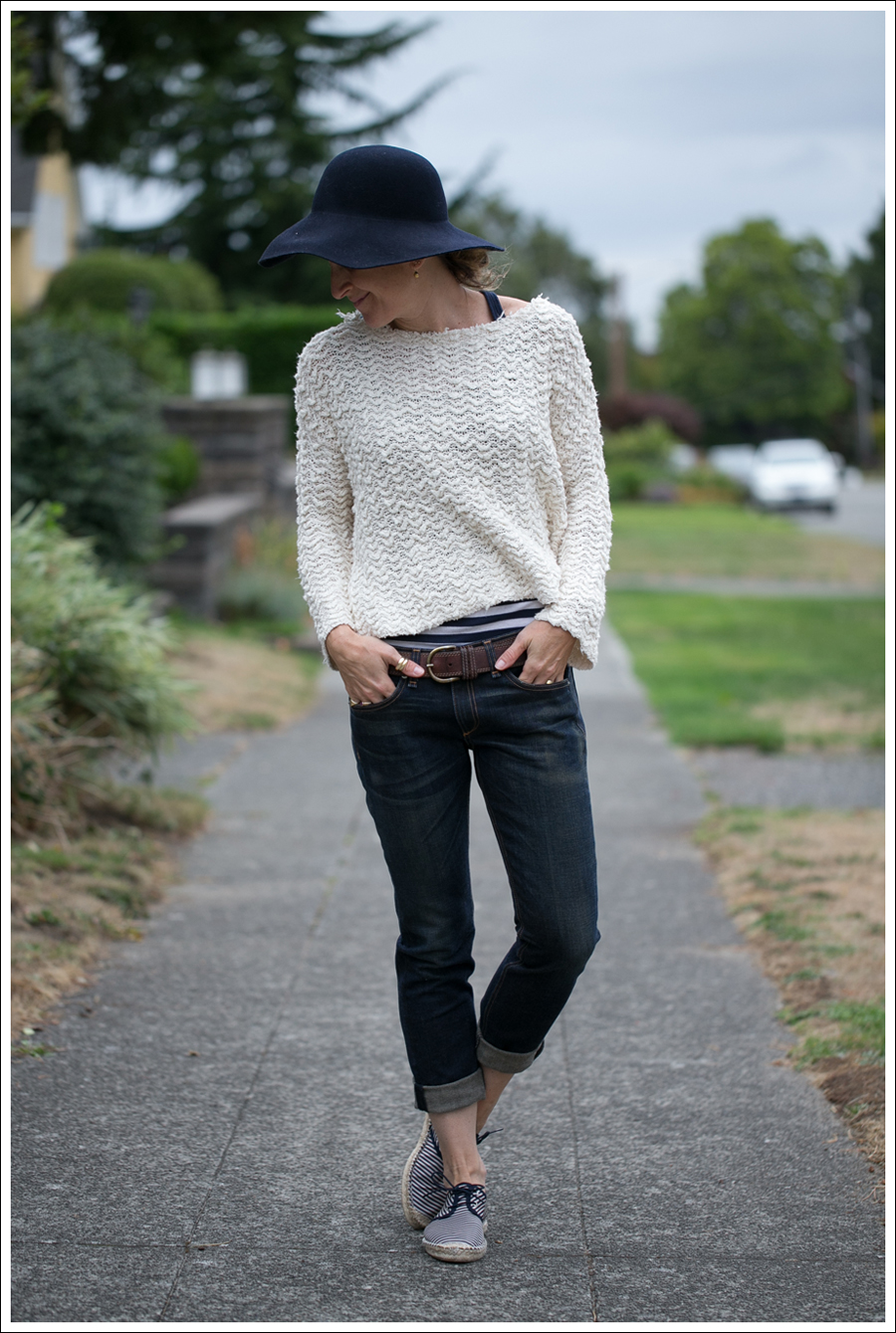 Blog Nordstrom Navy Wool Hat Free People Cropped Sweater Rag Bone The Dre Zara Striped Espadrilles-2