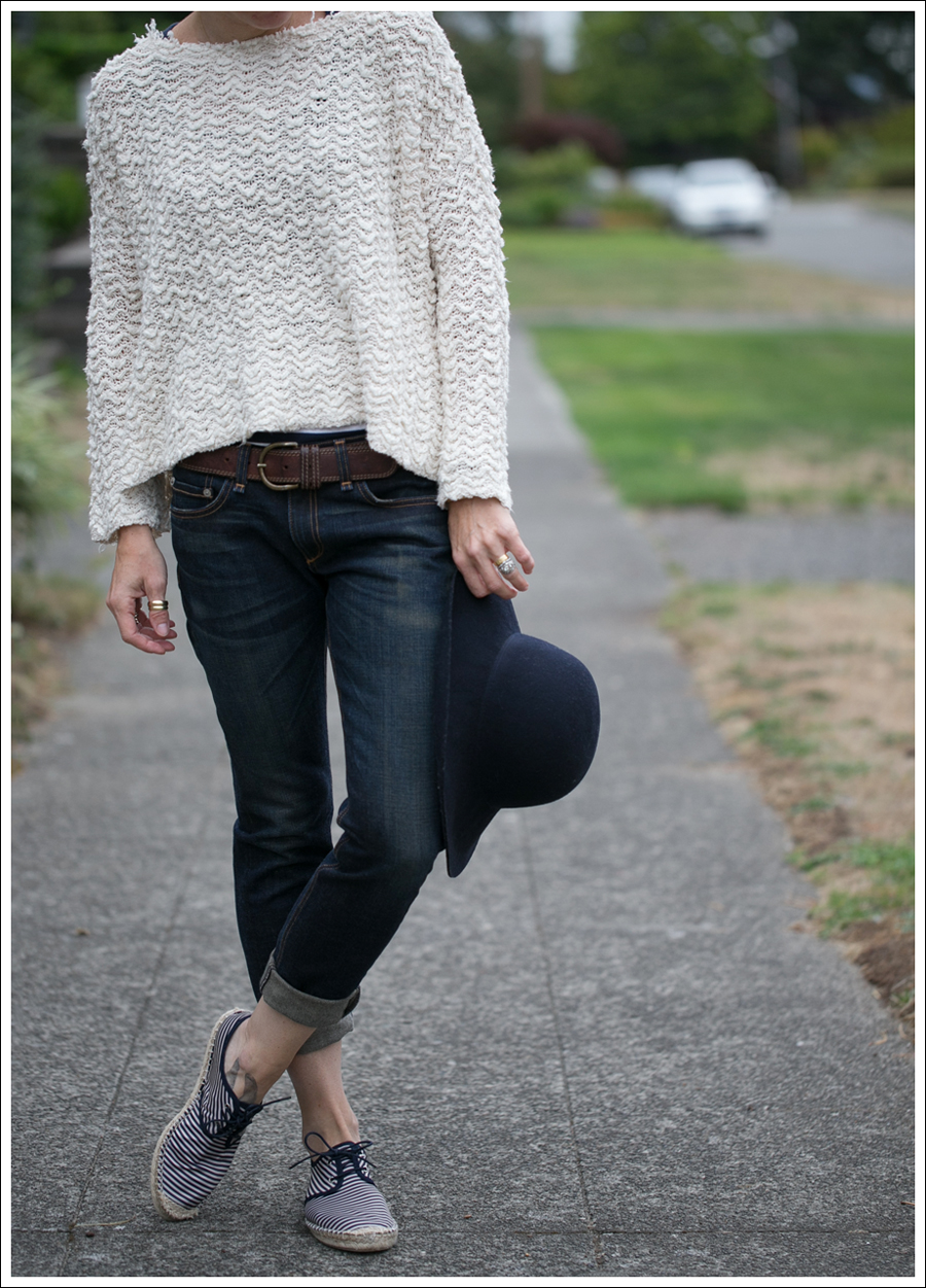 Blog Nordstrom Navy Wool Hat Free People Cropped Sweater Rag Bone The Dre Zara Striped Espadrilles-4