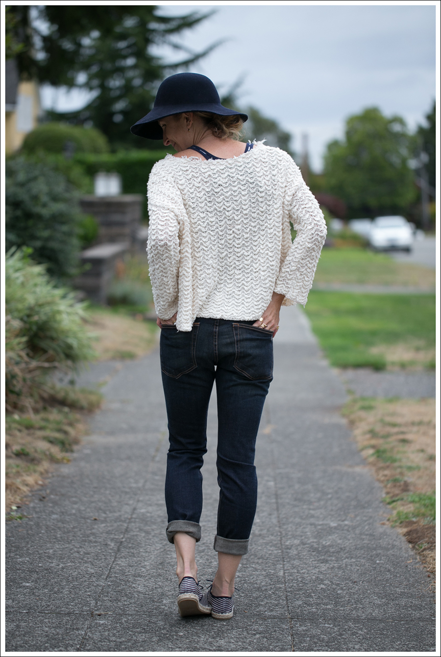Blog Nordstrom Navy Wool Hat Free People Cropped Sweater Rag Bone The Dre Zara Striped Espadrilles-5