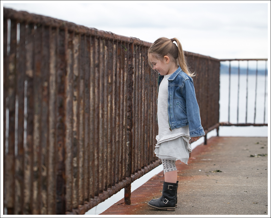Blog Osh Kosh Denim Jacket CrewCuts Grey Tiered Tee Dress Sparkle Leggings Xhiliration Moto Boots-1
