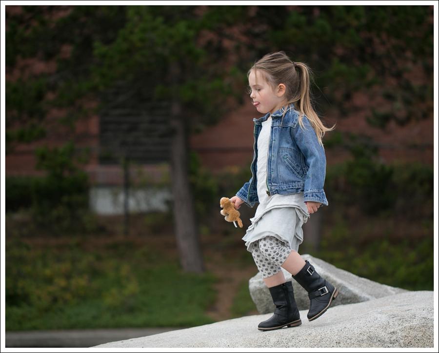 Blog Osh Kosh Denim Jacket CrewCuts Grey Tiered Tee Dress Sparkle Leggings Xhiliration Moto Boots-3