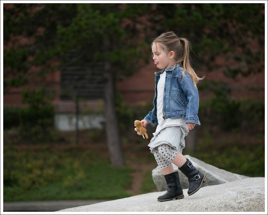 Blog Osh Kosh Denim Jacket CrewCuts Grey Tiered Tee Dress Sparkle Leggings Xhiliration Moto Boots-3