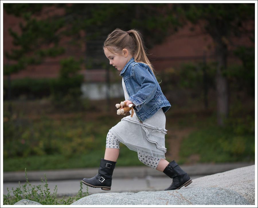 Blog Osh Kosh Denim Jacket CrewCuts Grey Tiered Tee Dress Sparkle Leggings Xhiliration Moto Boots-4