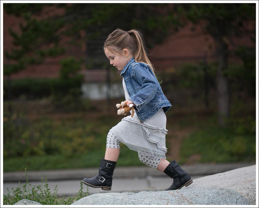 Blog Osh Kosh Denim Jacket CrewCuts Grey Tiered Tee Dress Sparkle Leggings Xhiliration Moto Boots-4