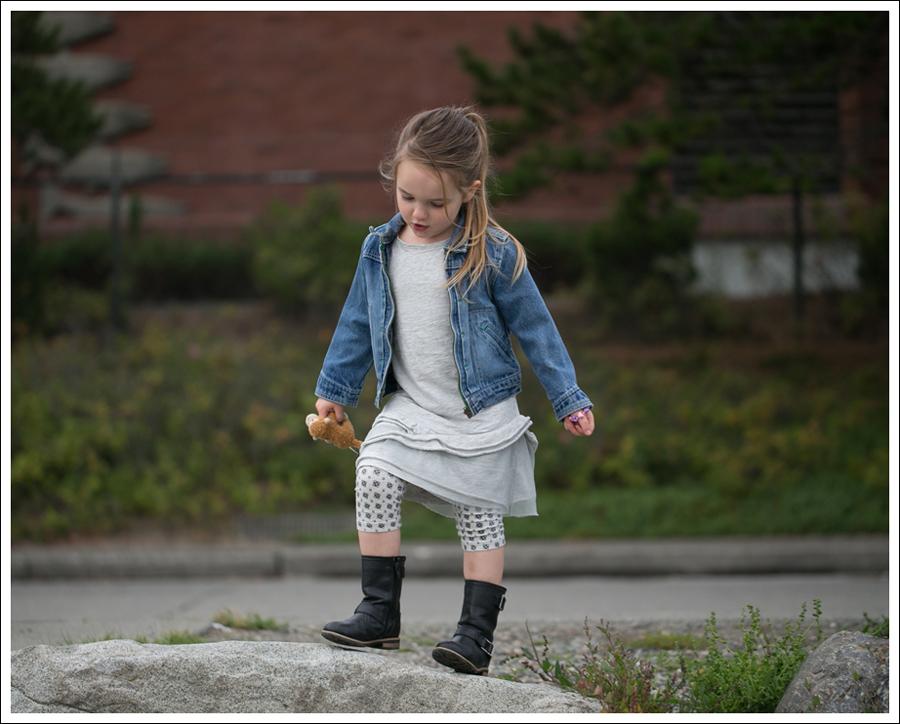 Blog Osh Kosh Denim Jacket CrewCuts Grey Tiered Tee Dress Sparkle Leggings Xhiliration Moto Boots-5