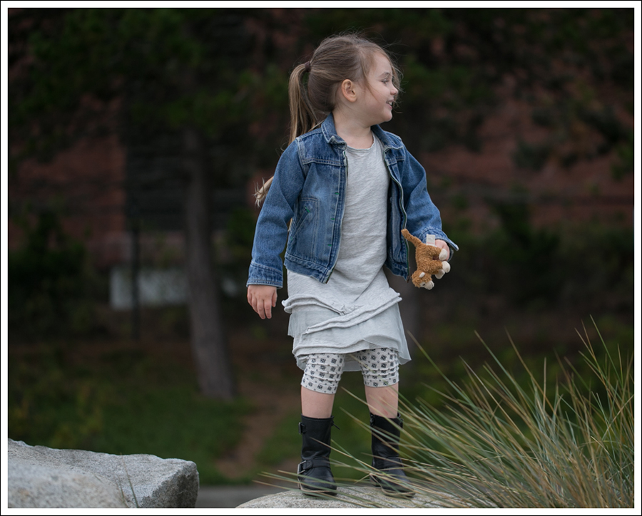 Blog Osh Kosh Denim Jacket CrewCuts Grey Tiered Tee Dress Sparkle Leggings Xhiliration Moto Boots-8