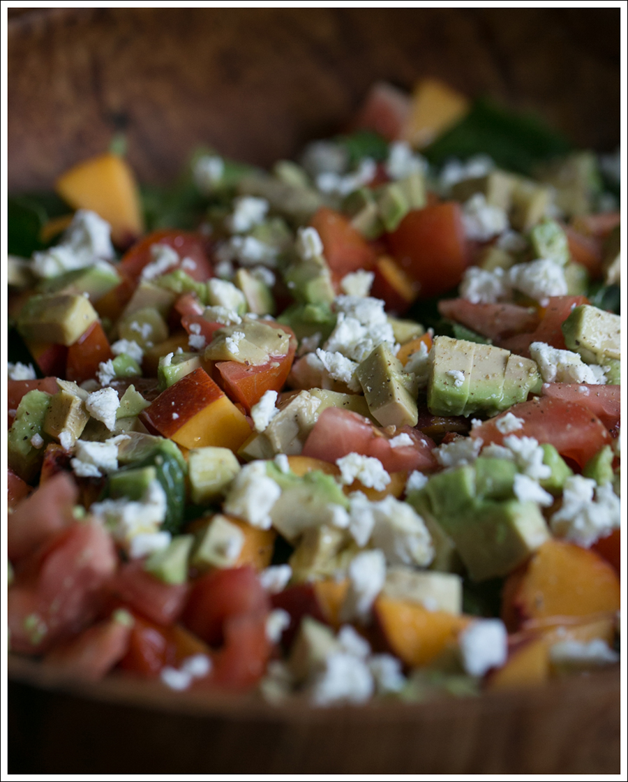 Peach, Avocado, Tomato, and Basil Salad with Goat Cheese |
