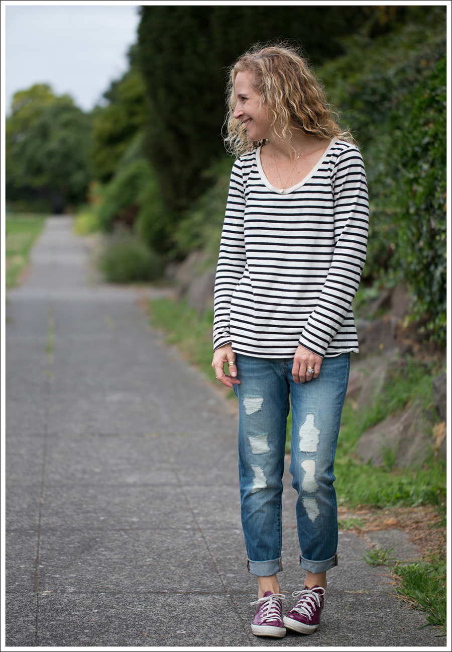 Blog Stylemint striped tee DL1961 Nolita Boyfriend Jeans Rockport Pink Leather Converse-2