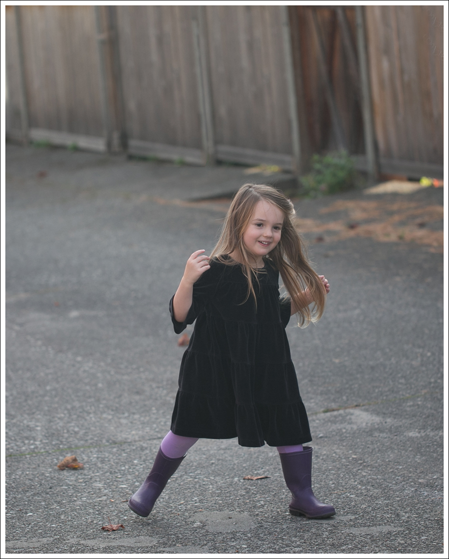Blog Hanna Andersson Black Velour Twirl Dress Purple Leggings Kamik Rain Boots-1