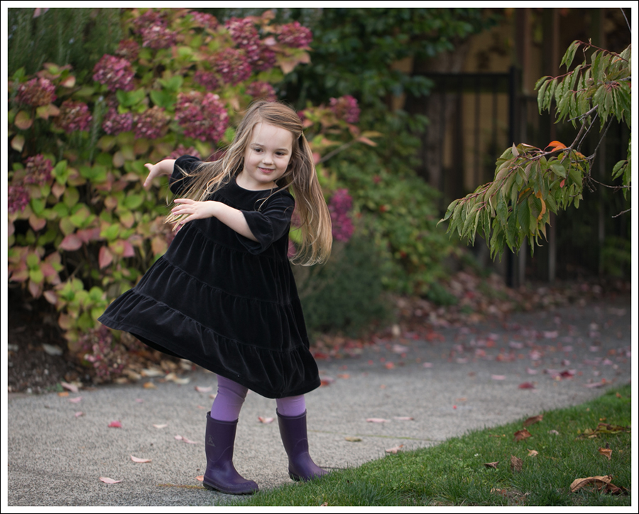 Blog Hanna Andersson Black Velour Twirl Dress Purple Leggings Kamik Rain Boots-9