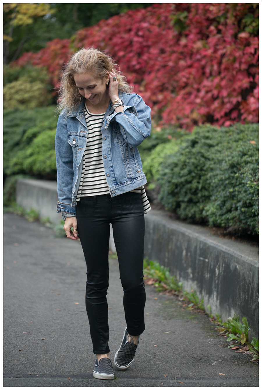 Blog Levis Jacket Free People Madness Stripe Muscle Tank DL1961 River Atlanta Checkered Vans-1