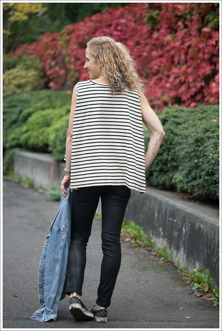 Blog Levis Jacket Free People Madness Stripe Muscle Tank DL1961 River Atlanta Checkered Vans-3