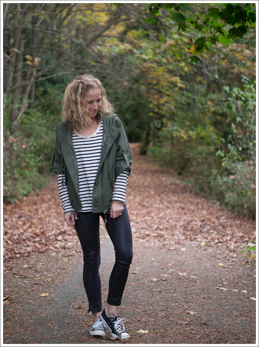 Blog StyleMint Anorak Striped Tee Helmut Lang High Gloss Cropped Skinny Jeans Black Converse-1