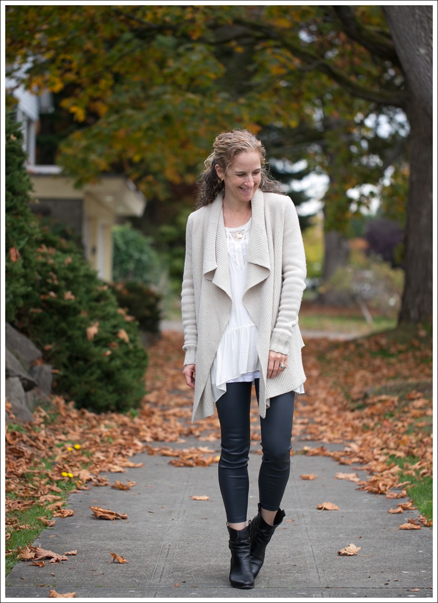 Blog Vince Wool Drape Sweater Zara Tunic Vince Leather Leggings Joan and David Booties-1