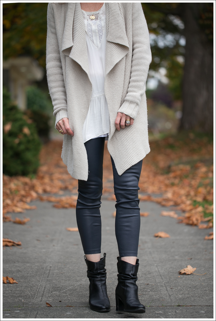 Blog Vince Wool Drape Sweater Zara Tunic Vince Leather Leggings Joan and David Booties-2