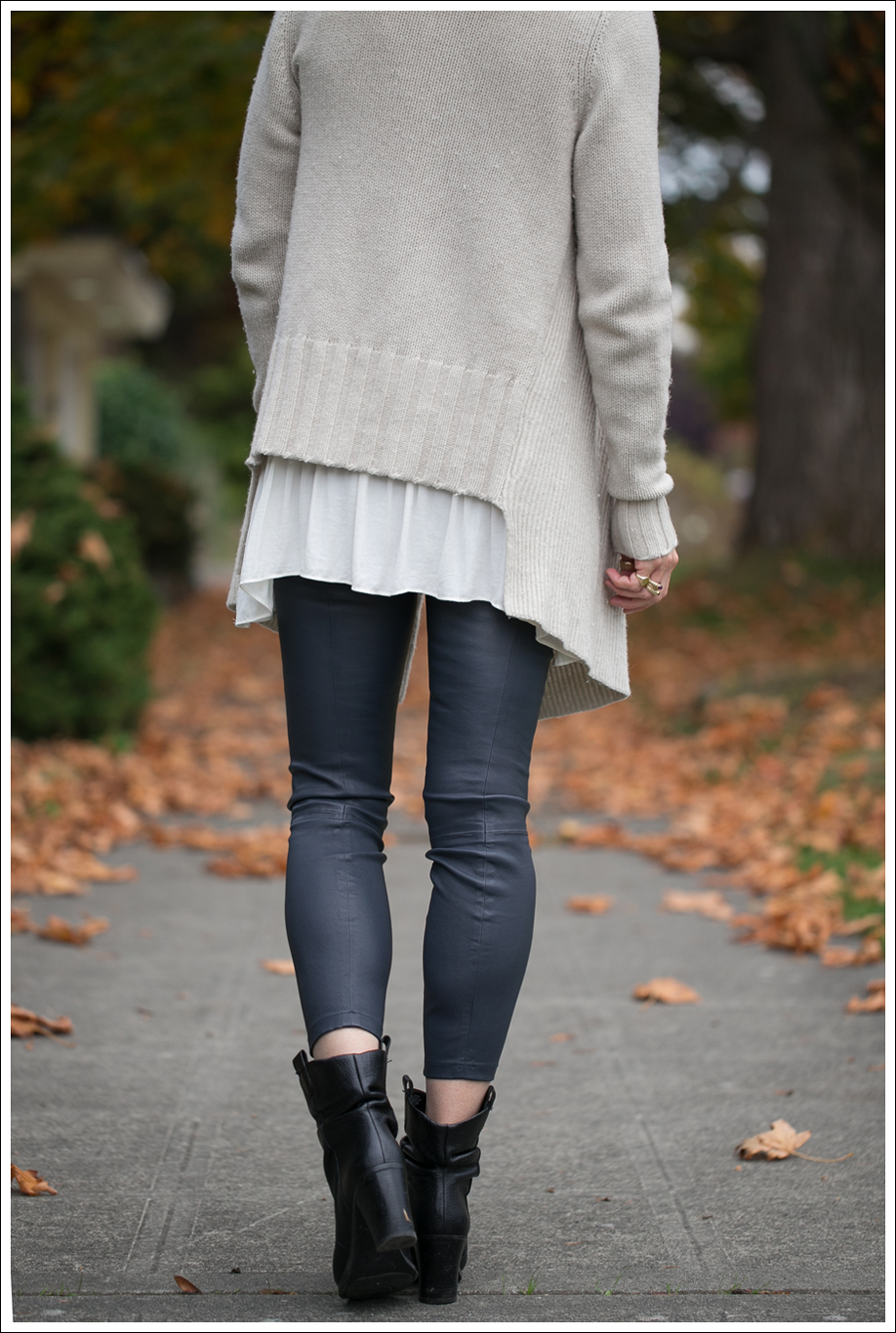 Blog Vince Wool Drape Sweater Zara Tunic Vince Leather Leggings Joan and David Booties-3