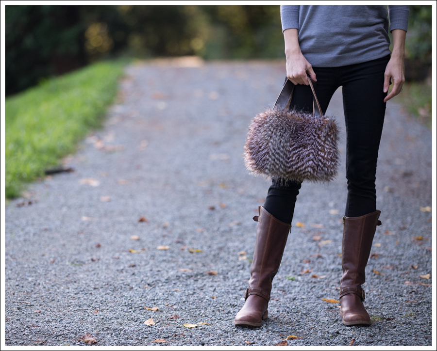 Blog DIY Faux Fur Leather Purse-1