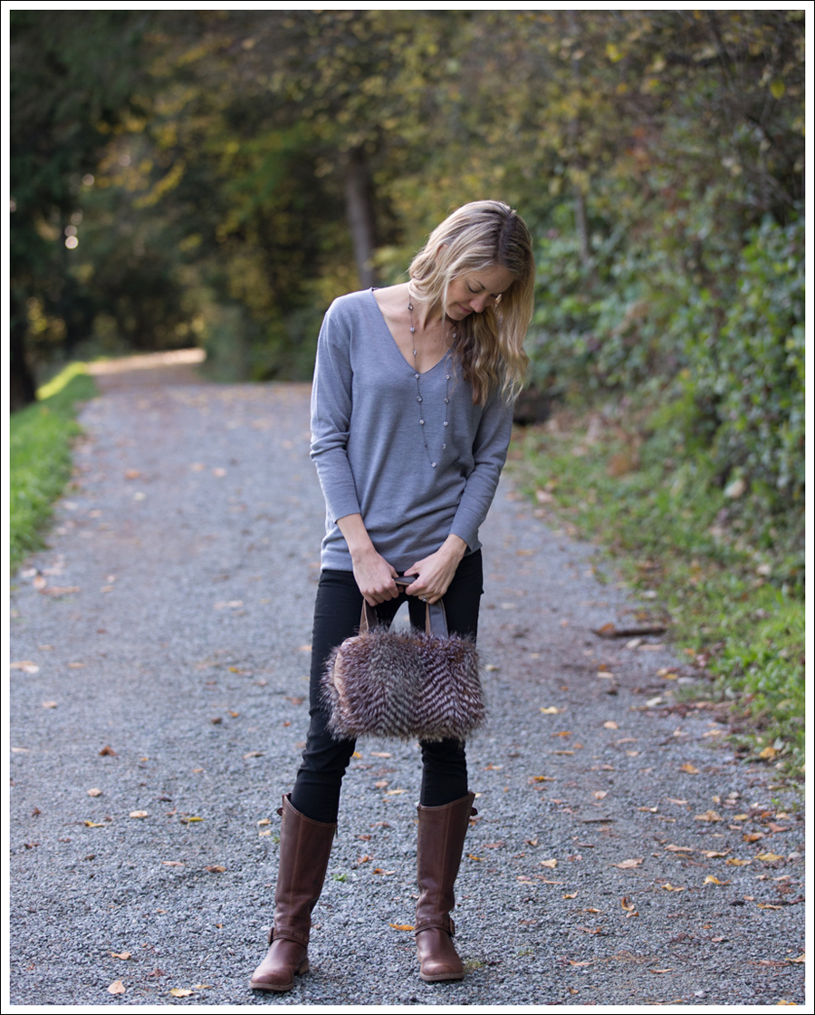 Blog DIY Faux Fur Leather Purse-3