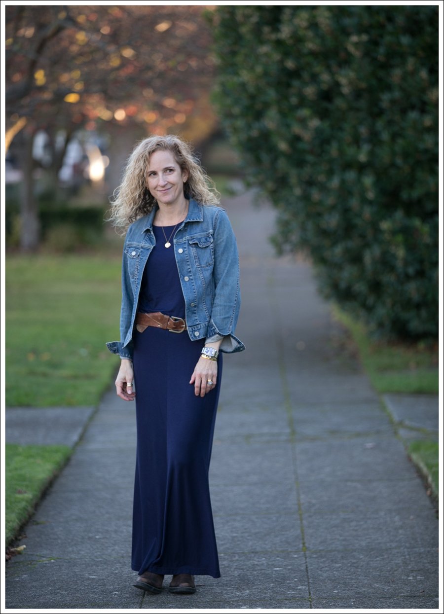 Blog Gap Denim Jacket Three Dots Seam Detail Maxi Dress Cafe Noire Booties-1