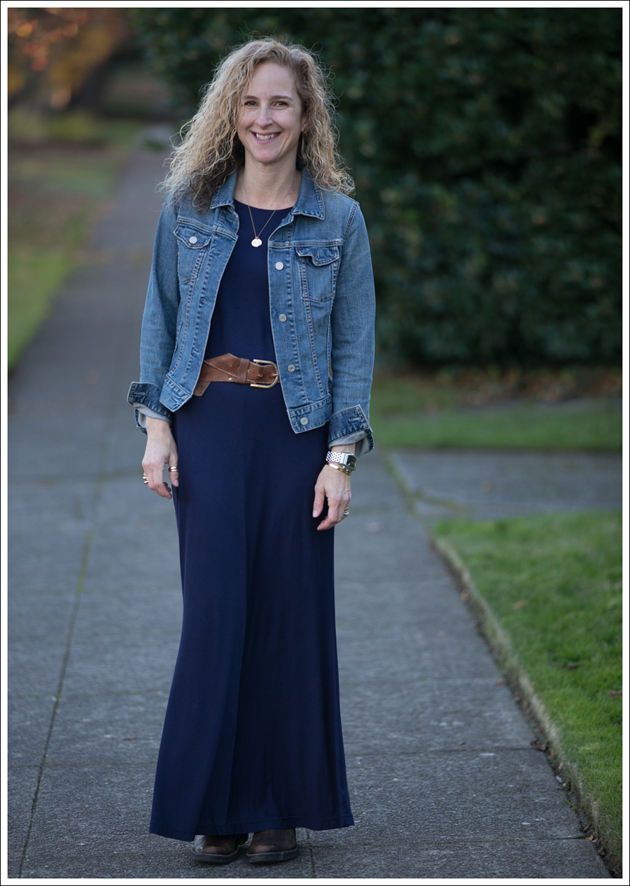 Blog Gap Denim Jacket Three Dots Seam Detail Maxi Dress Cafe Noire Booties-3