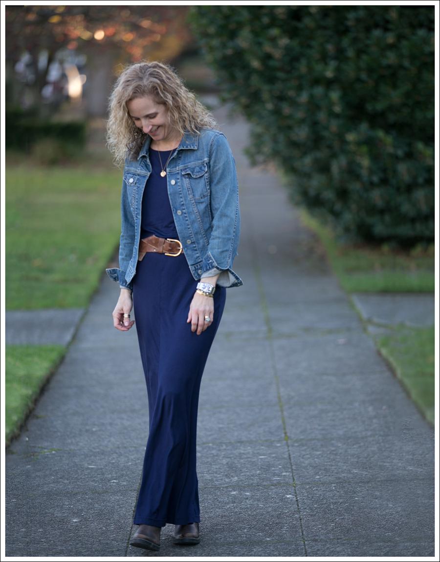 Blog Gap Denim Jacket Three Dots Seam Detail Maxi Dress Cafe Noire Booties-