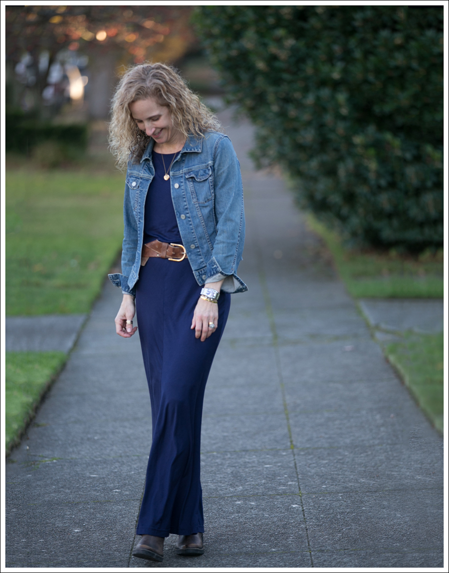 Blog Gap Denim Jacket Three Dots Seam Detail Maxi Dress Cafe Noire Booties-