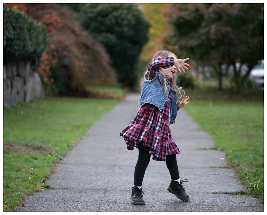 Blog Gap DIY Denim Vest Hanna Andersson Plaid Swing Dress Dr Martens Toddler Boots-1