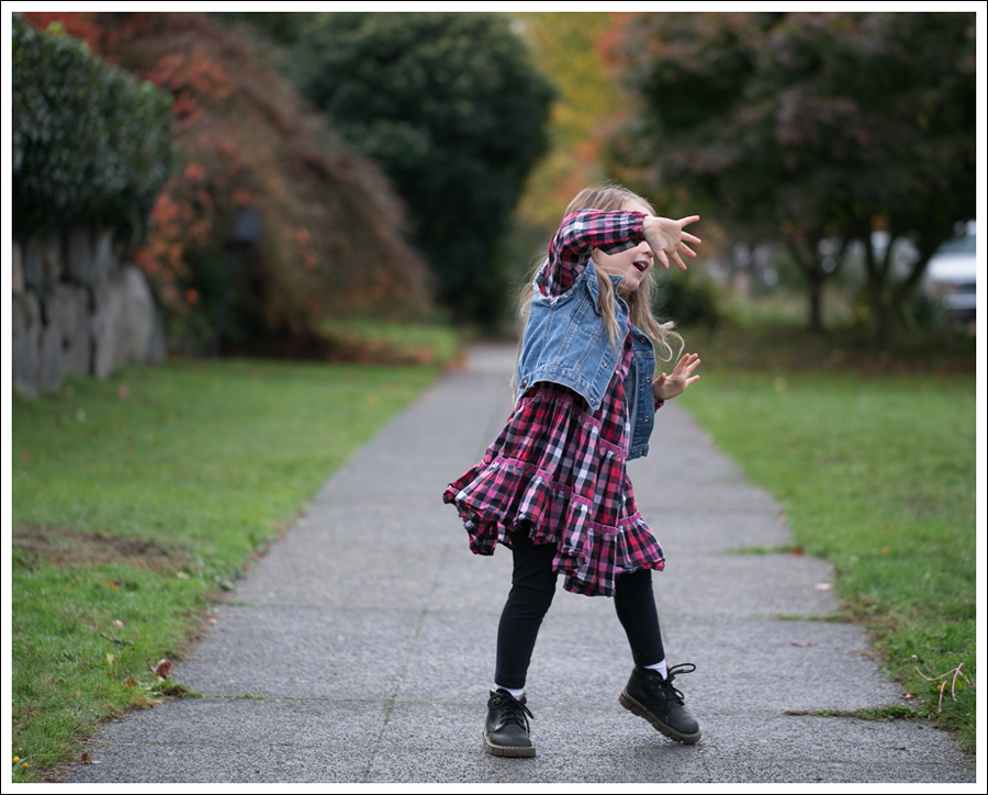 Blog Gap DIY Denim Vest Hanna Andersson Plaid Swing Dress Dr Martens Toddler Boots-1
