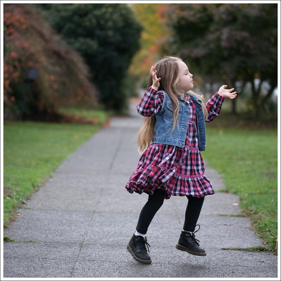 Blog Gap DIY Denim Vest Hanna Andersson Plaid Swing Dress Dr Martens Toddler Boots-2