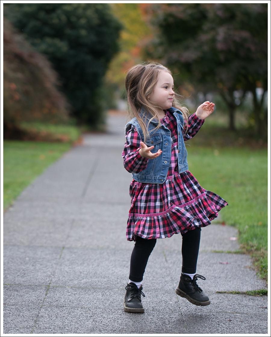 Blog Gap DIY Denim Vest Hanna Andersson Plaid Swing Dress Dr Martens Toddler Boots-3