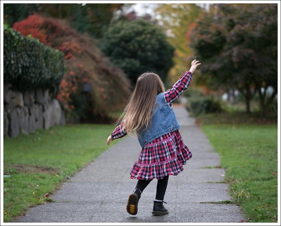 Blog Gap DIY Denim Vest Hanna Andersson Plaid Swing Dress Dr Martens Toddler Boots-4