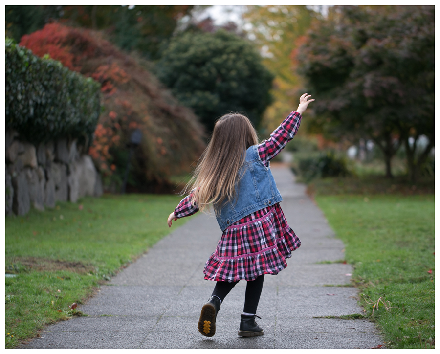 Blog Gap DIY Denim Vest Hanna Andersson Plaid Swing Dress Dr Martens Toddler Boots-4