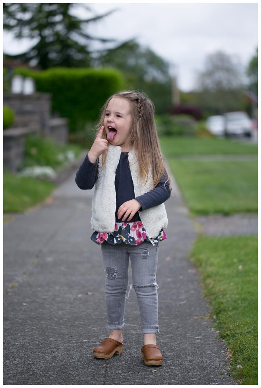 Blog GapKids Faux Fur Reversible Vest Tea Collection Gray Floral Tunic Skinny Mini Destroyed Gray Jeans Sven Clogs-10
